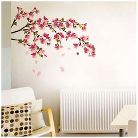 Wall Wings Spring Cherry Blossom Tree Branch With Pleasant Dark & Light Pink Shaded Flowers In Full Bloom & Leaves Wall Sticker