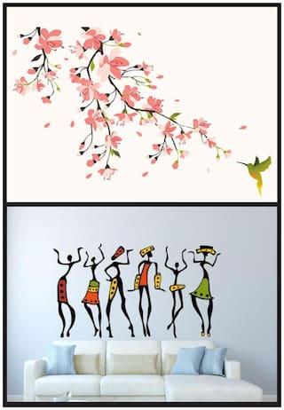 Wall wings Sakura blossom flower with African ladies