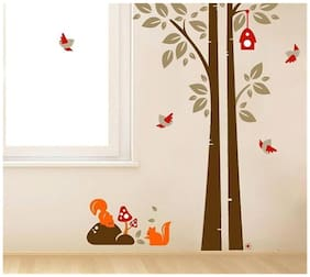 Wall Wings Tree Abstract Art With Squirrels Birds & Bird House Red Mushroom On A Rock Abstract/Vector Art D cor Wall Sticker/Decals (7123)