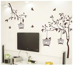 Wall Wings Tree Branch With Birds Bird House TV Dcor Wall Sticker