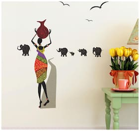 Wall Wings Tribal African Woman Carrying A Earthen (Clay) Pot In Typical Tribal Dress & Elephants Of All Sizes In The Background Setting Wall Sticker/Decals (57141)