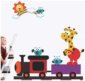 Wall Wings Toy Train Animation With Cartoon Angry Bird Giraffe Rainbow & Sun Kids Room Wall Sticker/Decals (6971)