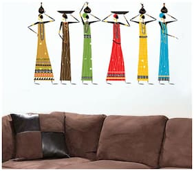 Wall Wings Tribal African Women With Mud Earthen PotS On Head Abstract - Vector Modern Art Wall Sticker/Decals (5728)