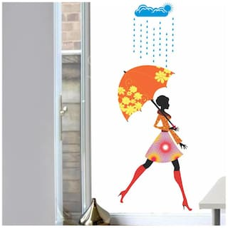 Wall Wings Teen Girl With Floral Umbrella Wall Sticker/Decals (6958)