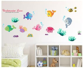 Wall Wings Underwater cute fishes with octopus Wall Sticker/Stickers