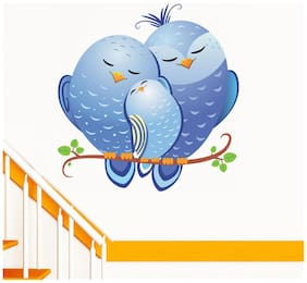Wall Wings Valentine's Day Love Birds (Blue Shades) On A Branch Abstract Animation Wall Sticker/Decals (6424)