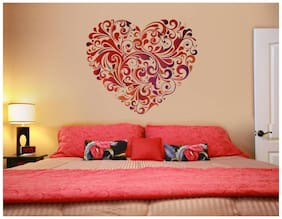 Wall Wings Valentine Floral Heart Mural Love Art In Red Abstract/Vector Wall Sticker