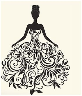 Wall Wings Woman In Floral Gown Mural Art Wall Sticker/Decals (6975)