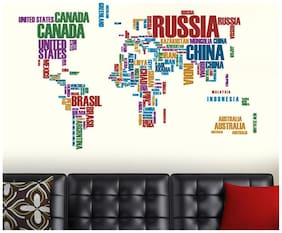 Wall Wings World Map (Typographic Text) Educational Wall Sticker/Decals (6981)