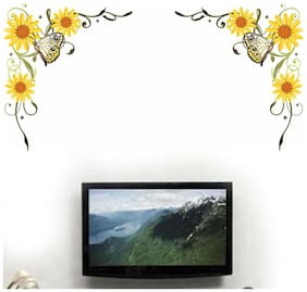 Wall Wings Yellow Sunflower/Gerbera Flower Vines With Butterfly In Yellow Vector Art Wall Sticker/Decals (57117)