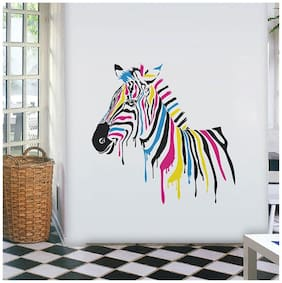 Wall Wings Zebra In Dripping Paint Multicolour Abstract - Vector Art/Modern Art Wall Sticker/Decals (5782)