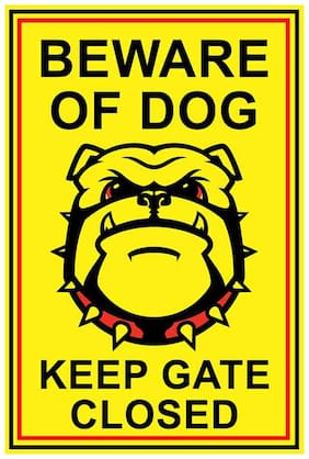wallpics Beware Of Dog Waterproof Vinyl Sticker Poster || (12X18 inches) can1668-1