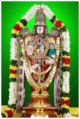 wallpics Lord venkateswara swamy Painting Poster Waterproof Vinyl Sticker for Home Decor    (24X18 inches) can1514-2