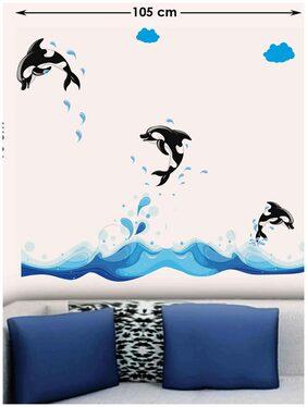 WallTola 3 Jumping Dolphins Wall Sticker