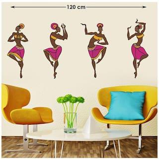 WallTola 4 Dancing Tribal Ladies Wall Sticker