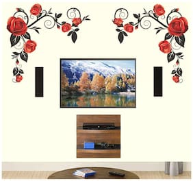 WallTola Background Roses With Vine Wall Sticker