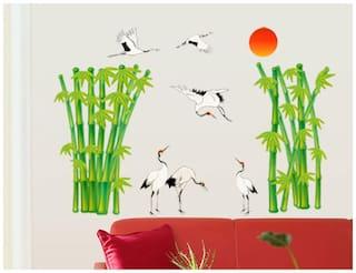 WallTola Bamboos And Cranes Evening Wall Sticker