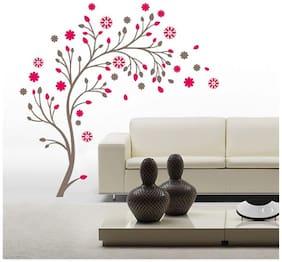 WallTola Beautiful Magic Tree With Flowers Wall Sticker