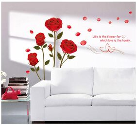 WallTola Bedroom Romantic Rose Flowers Wall Sticker