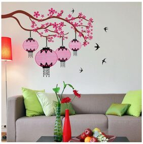WallTola Chinese Lamps With Branch Double Sheet Wall Sticker