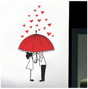 WallTola Couple Under Umbrella With Hearts Wall Sticker