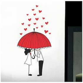 WallTola Couple Under Umbrella With Hearts Wall Sticker