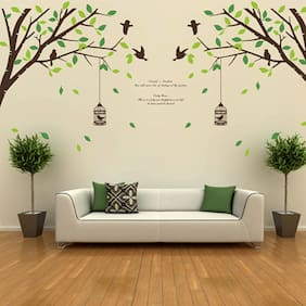 Wall art dcor buy wall stickers posters and paintings online walltola falling leaves birds and cage double sheet wall sticker gumiabroncs Image collections