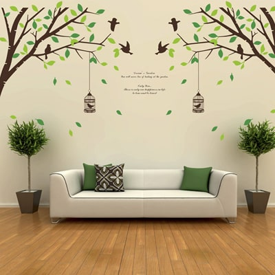WallTola Falling Leaves Birds And Cage Double Sheet Wall Sticker