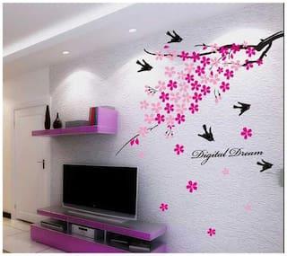 WallTola Flower Branch With Birds Wall Sticker