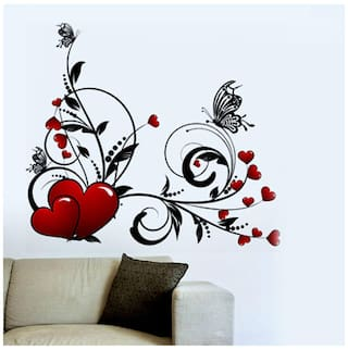 WallTola Hearts With Floral Design Wall Sticker