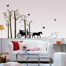 WallTola Horse Cart With Trees And Birds Wall Sticker
