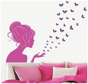 WallTola Lady In With Butterflies Wall Sticker
