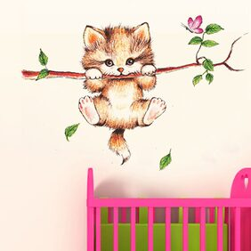WallTola Little Catty On Branch Wall Sticker