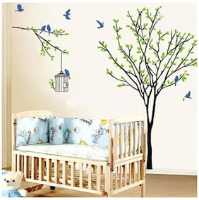 WallTola Root Tree Birds And Cage Wall Sticker