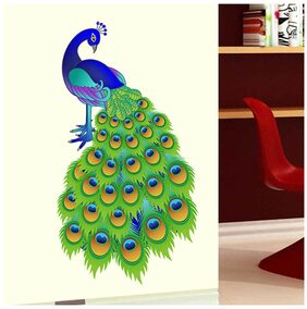 WallTola Slender Peacock Design Wall Sticker