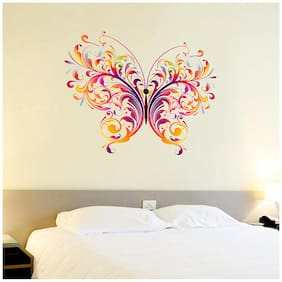 WallTola Wall Decals Colorful Single Big Butterfly Wall Sticker