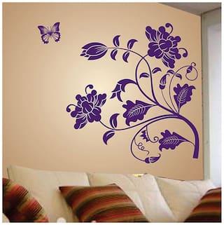 WallTola Wall Decals Vine Flower Wall Sticker