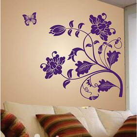 WallTola Wall Decals Vine Flower Wall Sticker