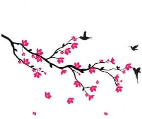 WallTola Wall Decals Hummingbirds And Blossoms Wall Sticker