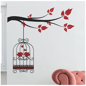 WallTola Wall Decals Lovely Birds Couple In Cage Wall Sticker