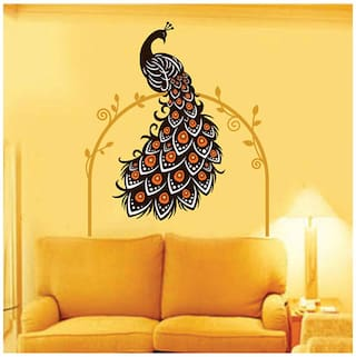 WallTola Wall Decals Beautiful Peacock On Vine - Wall Sticker