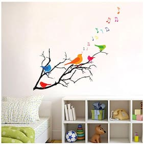 WallTola Wall Decals Colorful Birds With Musical Notes Wall Sticker