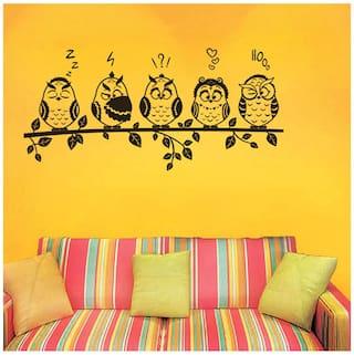 WallTola Wall Decals Funny Owls Emoticons Wall Sticker