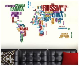WallTola World Map With Country Names Wall Sticker