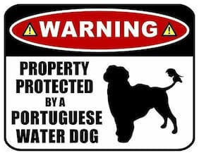 Warning Property Protected by a Portuguese Water Dog (SILHOUETTE) Dog Sign