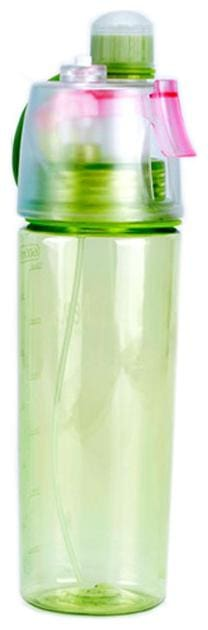 BAZAAR GALI Water Bottle Plastic BPA Free Sport Drink Mist Spray Water Bottle with Spray Straw Lid Plastic Assorted Water Bottle ( 600 ml , Set of 1 )
