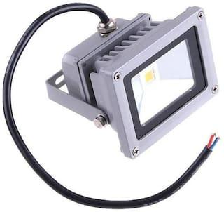 Waterproof 10W Cool White LED Flood Light Pure White AC 220-240V Night Lamp  (11 cm, Silver)