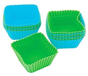 Way Beyond 12 Nonstick Silicone Cupcake Muffin Moulds (Pack of 12), Multicolor