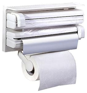 Way Beyond 3 in 1 Triple Kitchen Tissue Paper Roll Dispenser Aluminum Foil and Plastic Wrapping Cling Film Holder