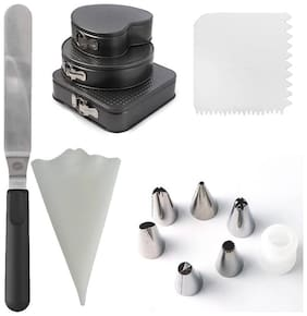 Way Beyond 3PCs Cake/Bread Mould, 1 Spatula For Smoothing, Icing Bag, 1 Scrapper, 6 Nozzles With Coupler Kitchen Tool Set